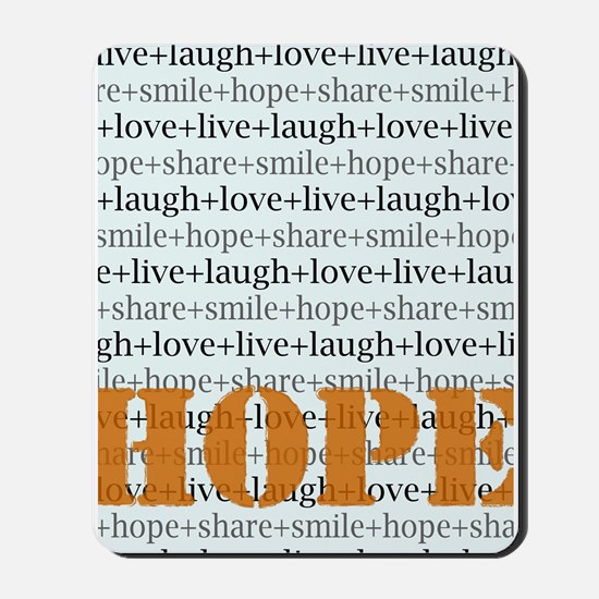 HOPE Inspirational Collage (orange) Mousepad