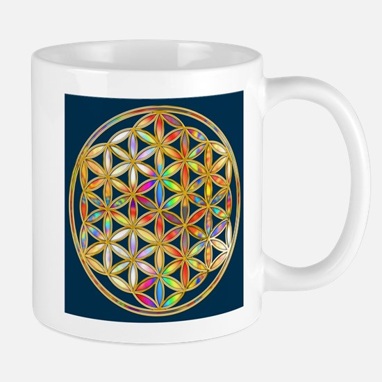 Flower Of Life gold colored II Mugs