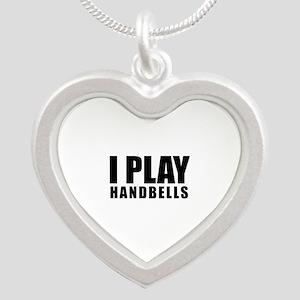 I Play Handbells Silver Heart Necklace