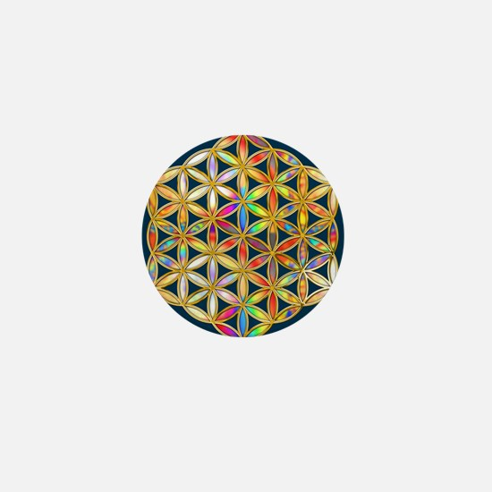Flower Of Life gold colored II Mini Button