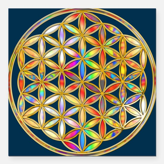 "Flower Of Life gold colo Square Car Magnet 3"" x 3"""