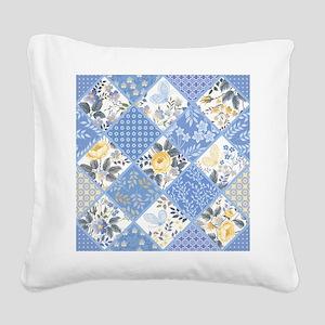 Patchwork Floral Square Canvas Pillow