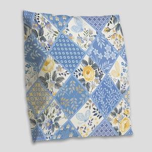 Patchwork Floral Burlap Throw Pillow