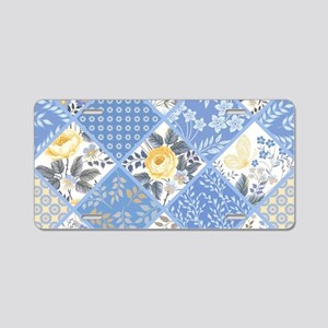 Patchwork Floral Aluminum License Plate