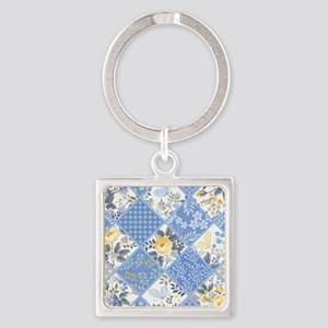 Patchwork Floral Square Keychain