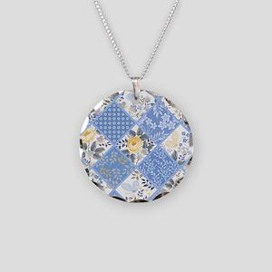 Patchwork Floral Necklace Circle Charm