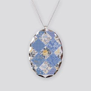 Patchwork Floral Necklace Oval Charm