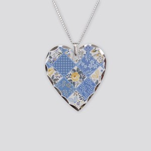 Patchwork Floral Necklace Heart Charm