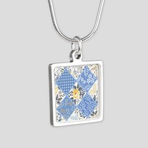 Patchwork Floral Silver Square Necklace