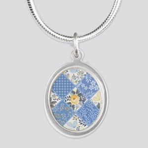 Patchwork Floral Silver Oval Necklace