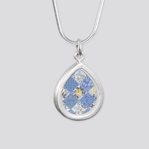 Patchwork Floral Silver Teardrop Necklace