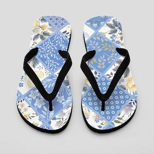 Patchwork Floral Flip Flops