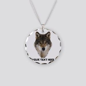 Wolf Personalized Necklace Circle Charm