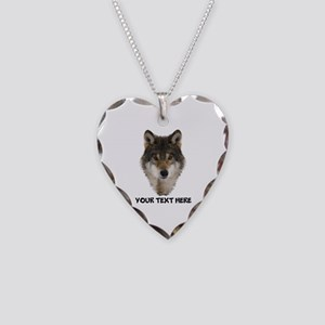 Wolf Personalized Necklace Heart Charm