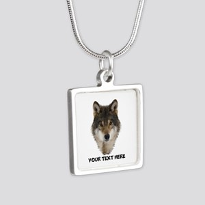 Wolf Personalized Silver Square Necklace