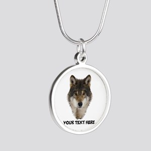 Wolf Personalized Silver Round Necklace