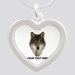 Wolf Personalized Silver Heart Necklace