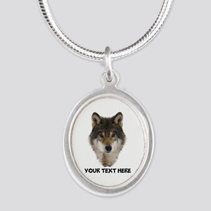 Wolf Personalized Silver Oval Necklace