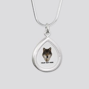 Wolf Personalized Silver Teardrop Necklace