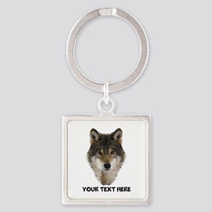 Wolf Personalized Square Keychain