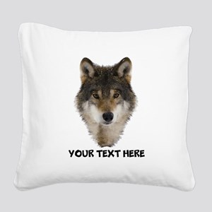 Wolf Personalized Square Canvas Pillow