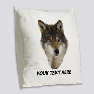Wolf Personalized Burlap Throw Pillow