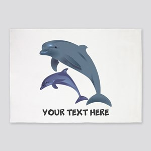 Dolphins Personalized 5'x7'Area Rug