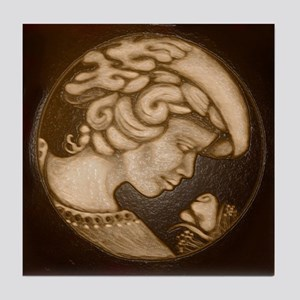 Lillian cameo antique sepia Tile Coaster
