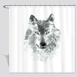 Watercolor Gray Wolf Shower Curtain