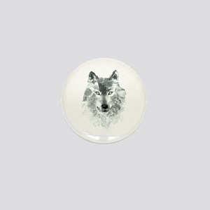 Watercolor Gray Wolf Mini Button