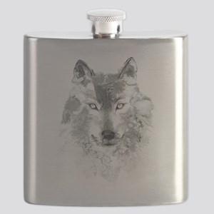 Watercolor Gray Wolf Flask