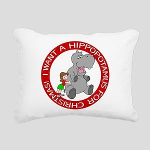 Hippopotamus for Christm Rectangular Canvas Pillow