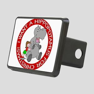 Hippopotamus for Christmas Rectangular Hitch Cover