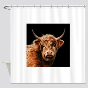 Highland Cow Portrait In Colour Shower Curtain