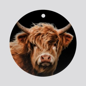 Highland Cow Portrait In Colour Round Ornament