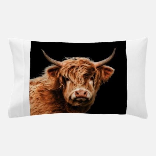 Highland Cow Portrait In Colour Pillow Case