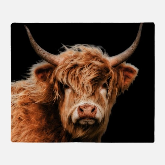 Highland Cow Portrait In Colour Throw Blanket