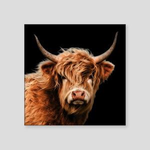 Highland Cow Portrait In Colour Sticker