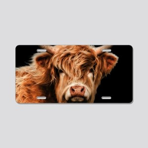 Highland Cow Portrait In Co Aluminum License Plate