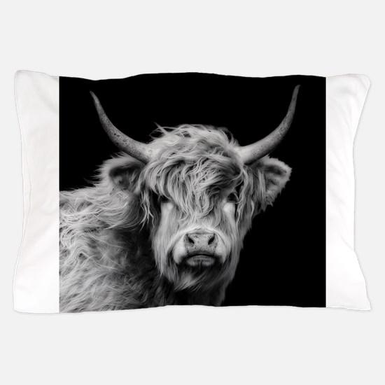 Highland Cow Portrait Black And White Pillow Case