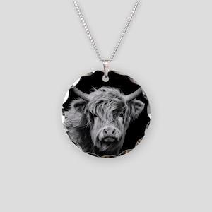 Highland Cow Portrait Black Necklace Circle Charm