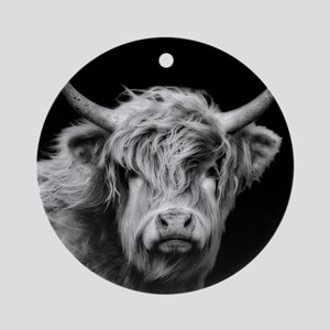 Highland Cow Portrait Black And Whi Round Ornament