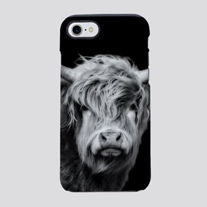 Highland Cow Portrait Black iPhone 8/7 Tough Case