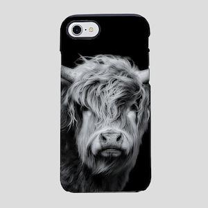 Highland Cow Portrait Black iPhone 8/7 Tough Case