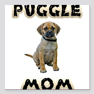 "Puggle Mom Square Car Magnet 3"" x 3"""
