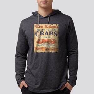 retro seafood restaurant crab Long Sleeve T-Shirt