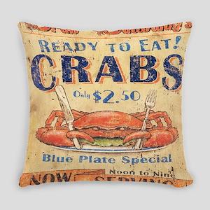 retro seafood restaurant crab Everyday Pillow
