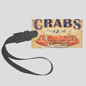 retro seafood restaurant crab Large Luggage Tag