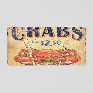 retro seafood restaurant cr Aluminum License Plate