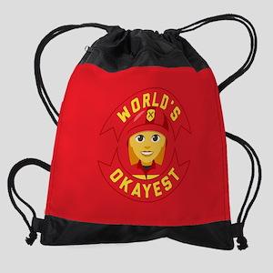 World's Okayest Firefighter Drawstring Bag